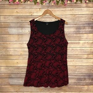 Torrid Black/Red Floral Lace Sleeveless Top